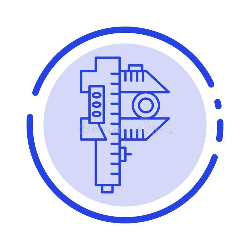 Mierzący, dokładność, miara, Mały, Malutki błękit Kropkująca linii linii ikona, royalty ilustracja
