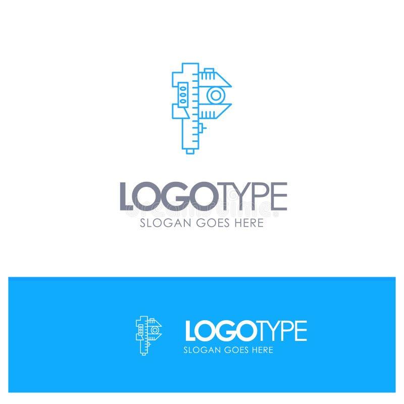 Mierzący, dokładność, miara, Mały, Malutki Błękitny konturu logo z miejscem dla tagline, ilustracja wektor