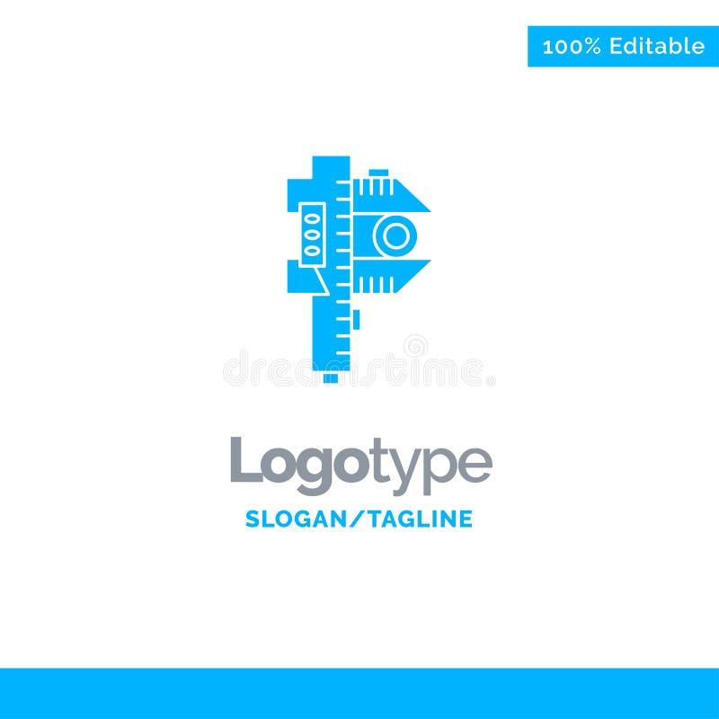 Mierzący, dokładność, miara, Mały, Malutki Błękitny Stały logo szablon, Miejsce dla Tagline royalty ilustracja