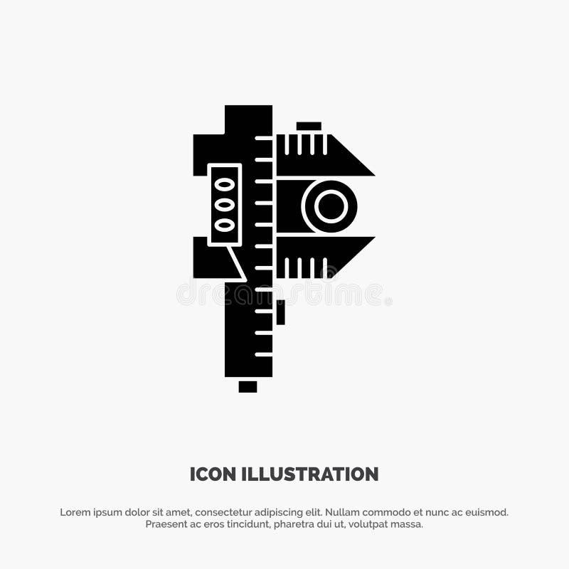 Mierzący, dokładność, miara, Mały, Malutki stały glif ikony wektor, ilustracja wektor