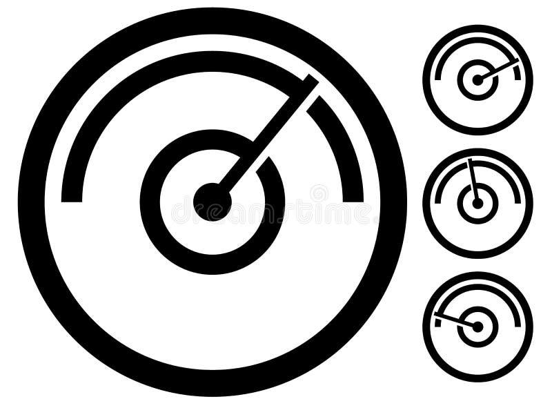 Mierzy metrowego symbol, ikona przy 4 scenami ciśnieniowy wymiernik, drogomierz, royalty ilustracja