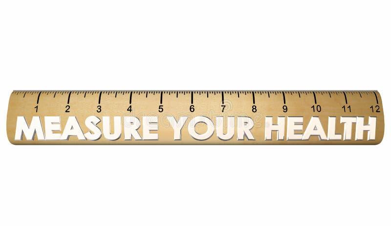 Mierzy Twój zdrowia Wellness sprawności fizycznej władcy ilustracja wektor
