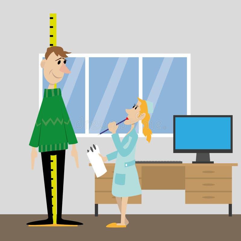 Mierzy wzrost pacjent ilustracja wektor