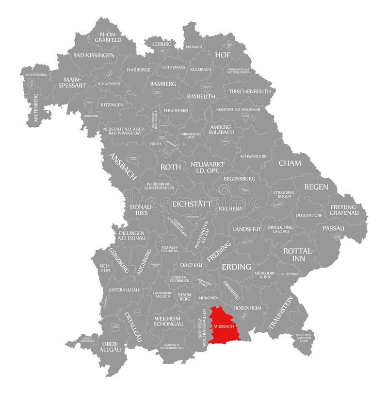 Miesbach okręgu administracyjnego czerwień podkreślająca w mapie Bavaria Niemcy ilustracja wektor