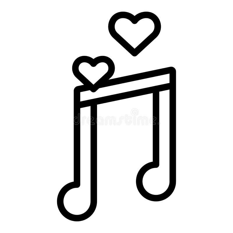 Miesiąc miodowy muzyczna ikona, konturu styl royalty ilustracja