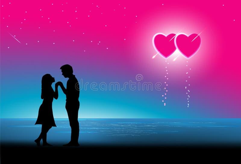 Miesiąc miodowy pary przy plażą. royalty ilustracja