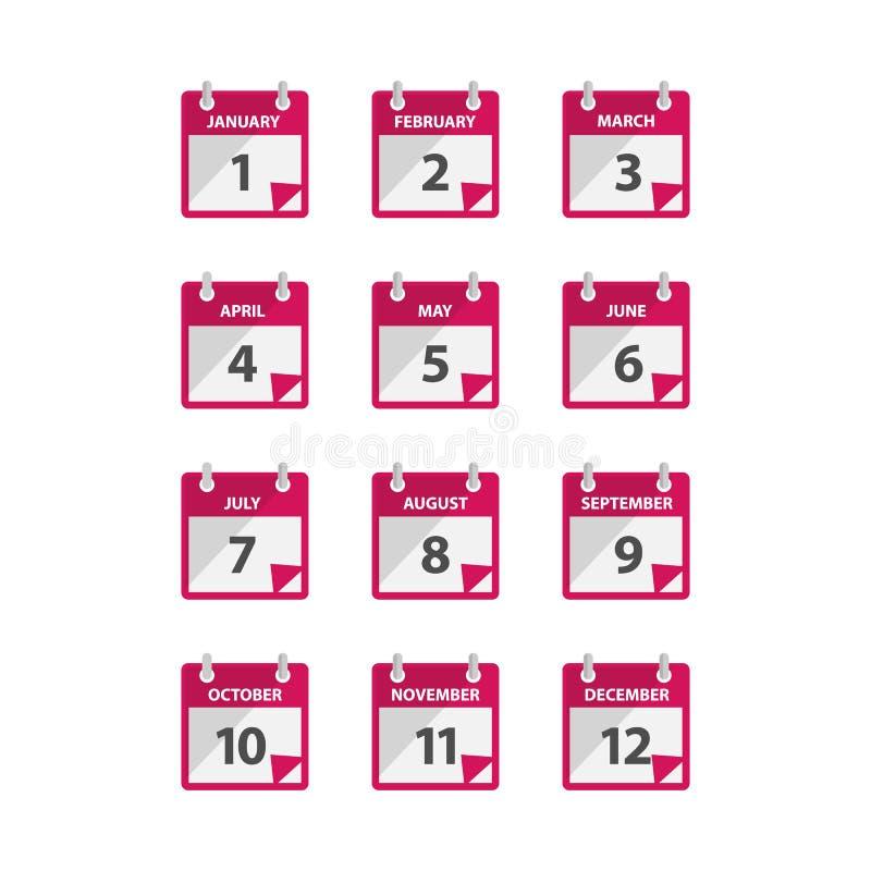 Miesiąca kalendarza ikony wektor w nowożytnym mieszkanie stylu dla sieci, grafiki i mobilnego projekta, ilustracji