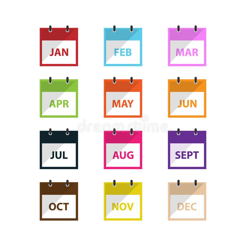 Miesiąca kalendarza ikony wektor w nowożytnym mieszkanie stylu dla sieci, grafiki i mobilnego projekta, royalty ilustracja