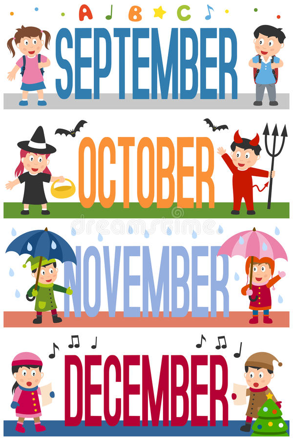 Miesiące sztandarów z dzieciakami [3] ilustracja wektor