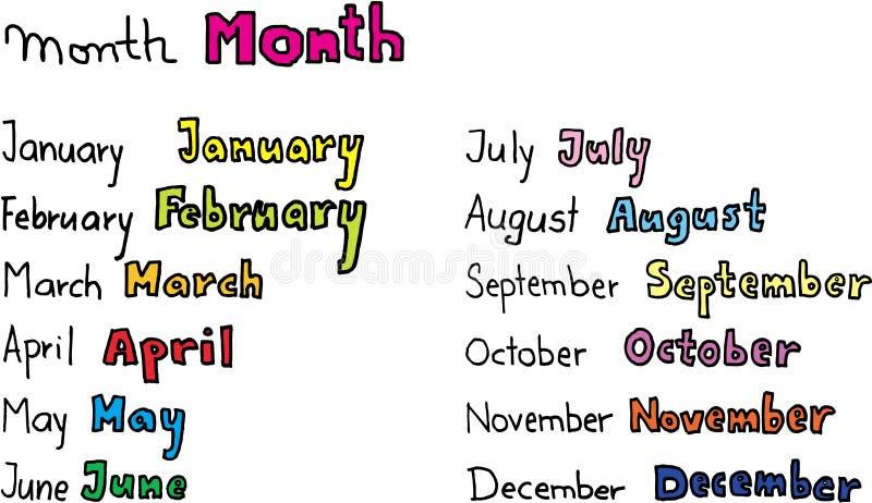 miesięcy w roku royalty ilustracja