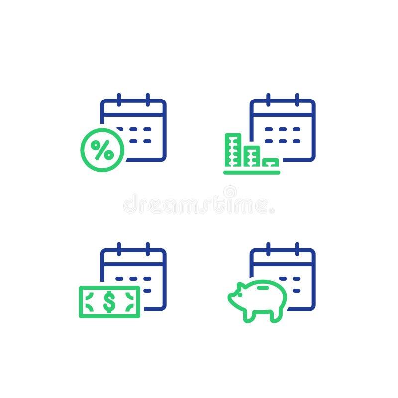Miesięczna płatność, pieniężny kalendarz, roczny dochód, prosiątko banka savings konto, pieniądze powrót, inwestycja długotermino royalty ilustracja