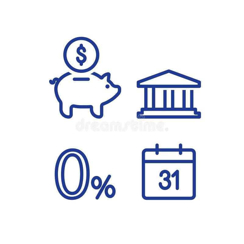 Miesięczna płatność, zero procentu znak, pieniężny kalendarz, roczny dochód, prosiątko banka pieniądze powrót, inwestycja długote ilustracji