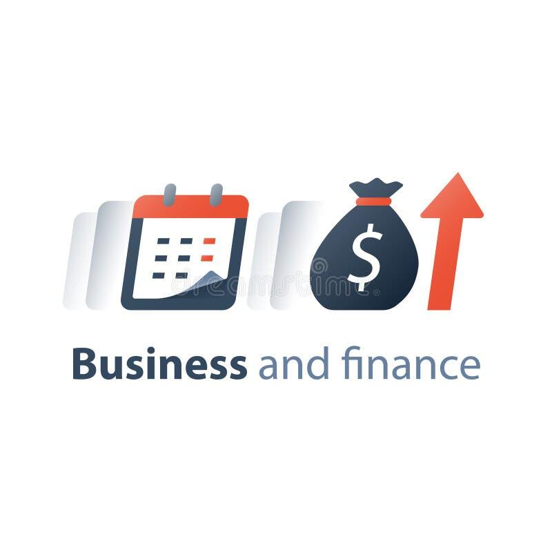 Miesięczna pożyczkowej zapłaty zaliczka, pieniężny kalendarz, roczny dochód, długookresowa wartości inwestycja i powrót, czasu ok royalty ilustracja