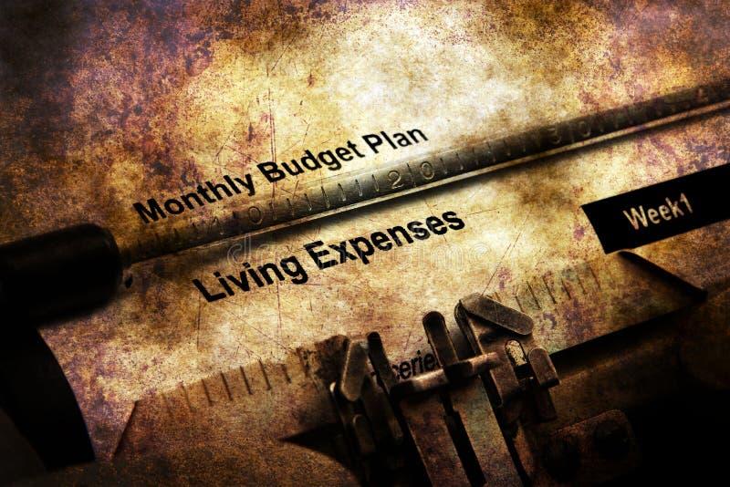 Miesięcznego budżeta planu Żywi koszty zdjęcia stock