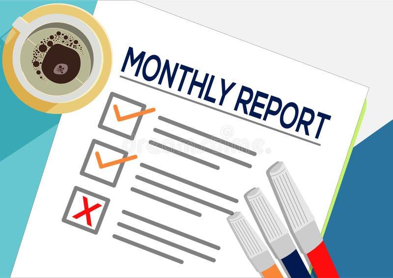 Miesięcznego raportu lub planowania ikony pojęcie Jeden zadanie nie udać się Papier ciąć na arkusze z czek ocenami, abstrakcjonis royalty ilustracja