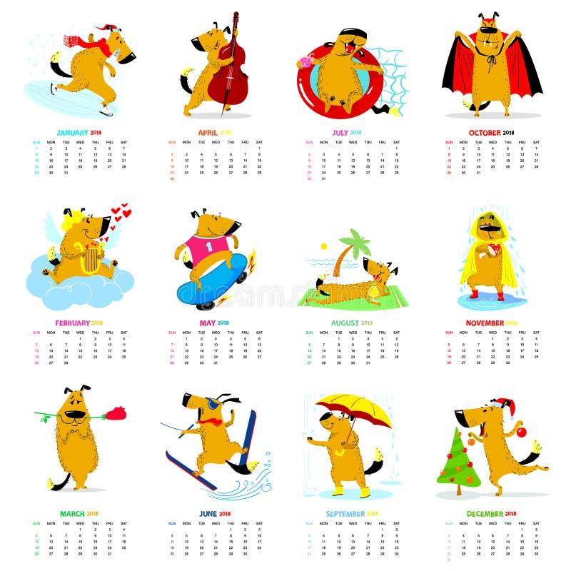 Miesięcznika kalendarz 2018 z ślicznymi psami Wektorowa ilustracja z p ilustracji