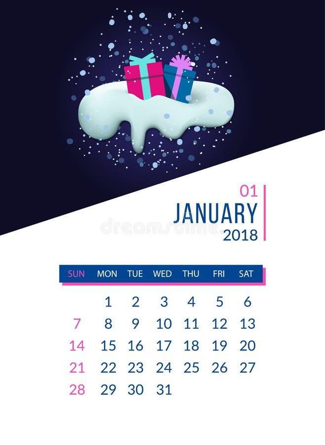 Miesięcznika planisty kalendarzowy szablon dla Stycznia royalty ilustracja