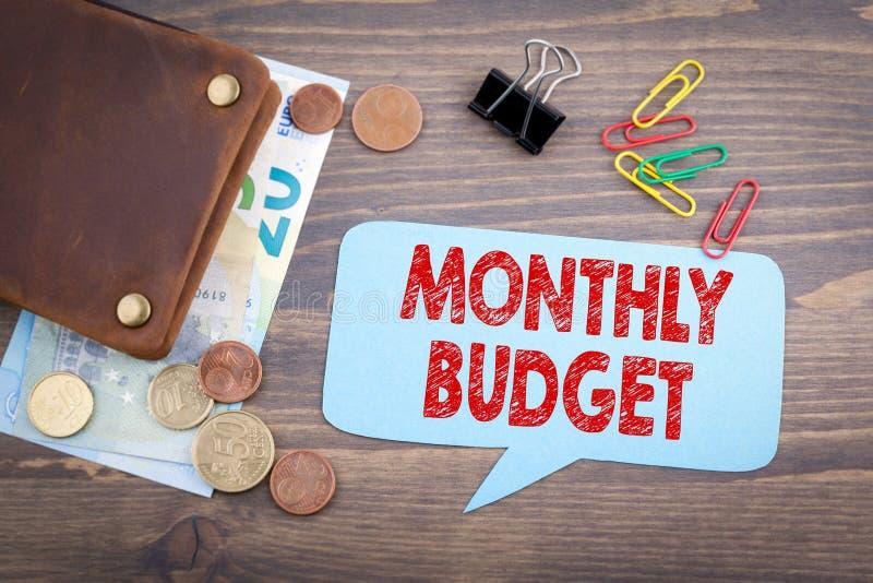 Miesięczny budżet rodzinny dochód zysku i kosztu tło zdjęcie stock
