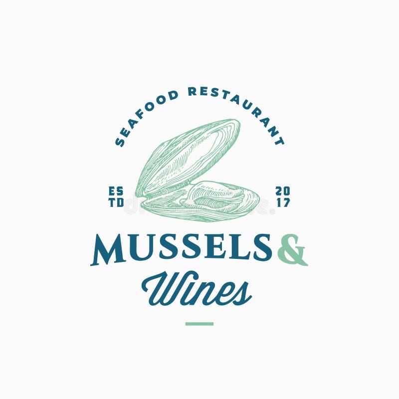 Miesmuschel-und Wein-Meeresfrüchte-Restaurant-Zusammenfassungs-Vektor-Zeichen, Symbol oder Logo Template Hand gezeichnete geöffne vektor abbildung