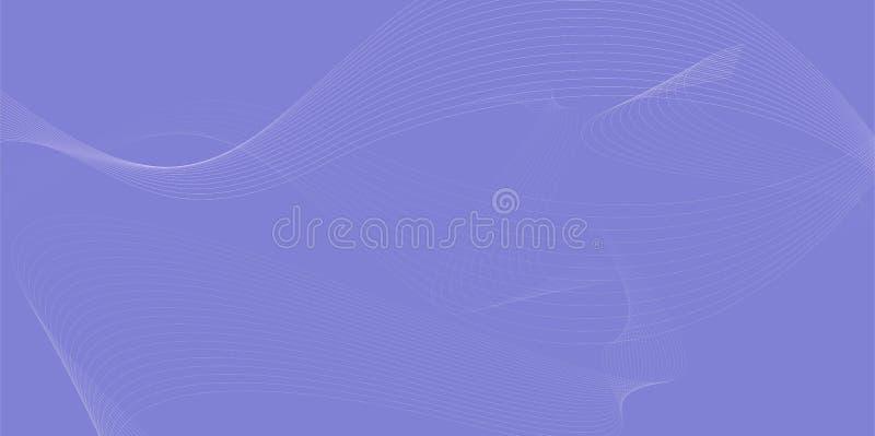 Mieszająca siatka, futurystyczna styl fala płynie nad purpurowym Abstrakcjonistycznym tłem 014 royalty ilustracja
