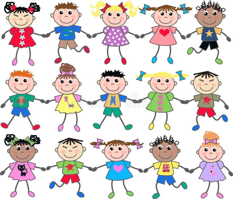 mieszający etniczni dzieciaki ilustracji