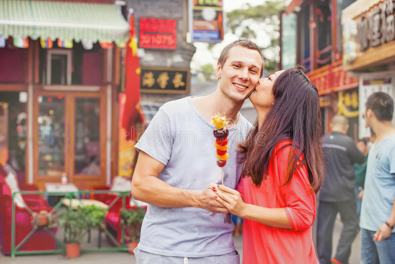 Mieszana biegowa para w Beijing obrazy royalty free
