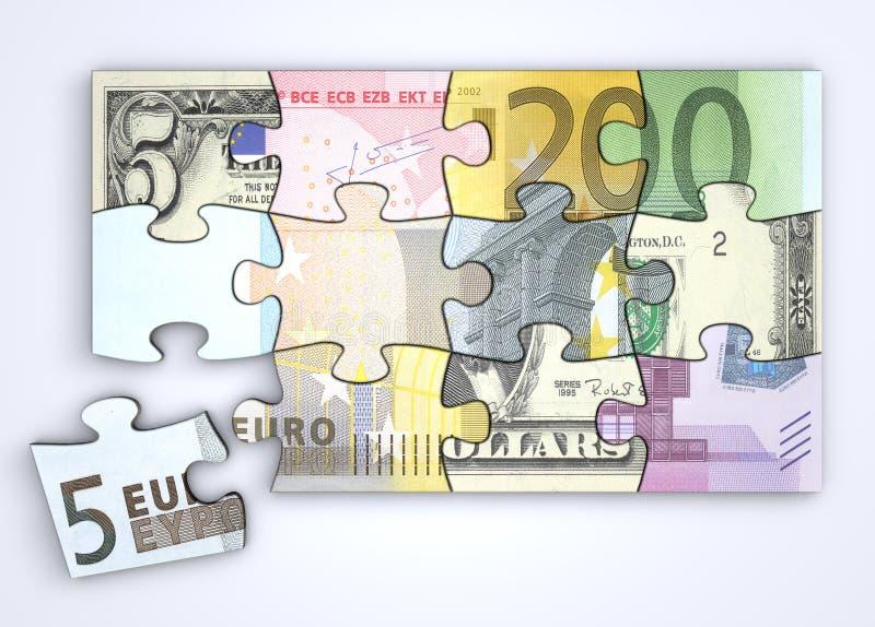 Mieszana Dolara i Euro Notatki Łamigłówka ilustracja wektor