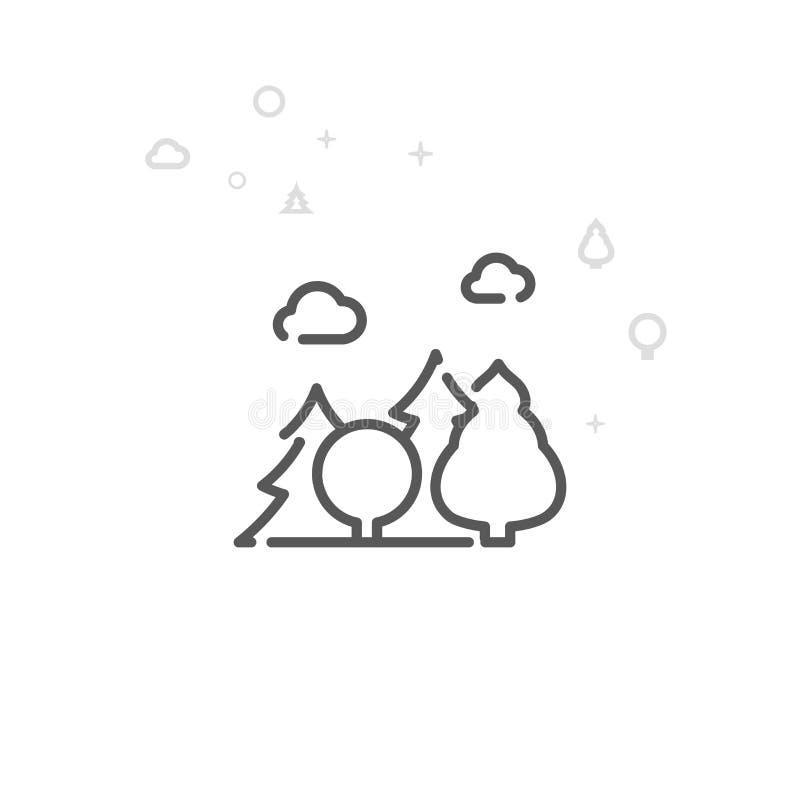 Mieszana Lasowa wektor linii ikona, symbol, piktogram, znak Lekki abstrakcjonistyczny geometryczny t?o Editable uderzenie royalty ilustracja