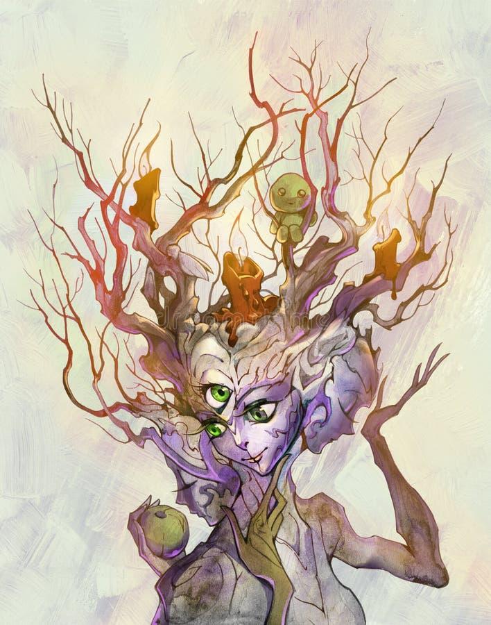 Mieszana medialna ezoteryczna ilustracja magiczny żywy drzewo z trzy żeńskimi twarzami ilustracja wektor