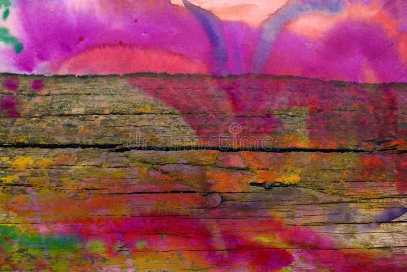 Mieszana medialna grafika, abstrakcjonistyczna kolorowa artystyczna malująca warstwa w menchiach, błękitna kolor paleta na grunge fotografia royalty free