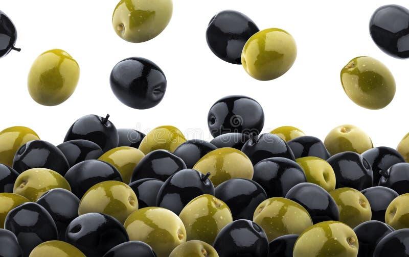 Mieszana zieleń i czarnych oliwek bezszwowy wzór pojedynczy białe tło obrazy stock