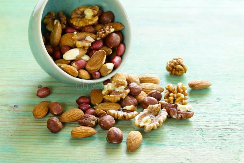 Mieszanek dokrętki - migdały, hazelnuts, arachidy, orzechy włoscy fotografia royalty free