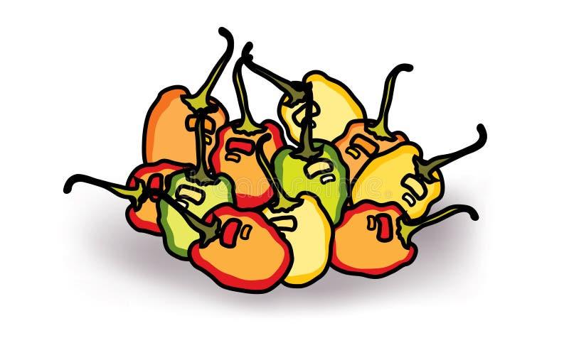 Mieszanka barwi habanero chillies ilustracji