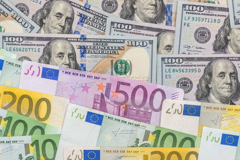mieszanka euro i dolara rachunki fotografia royalty free