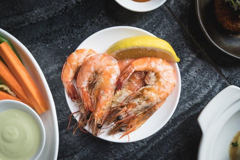 Mieszanka owoce morza Ustalony menu świeży zdjęcie stock