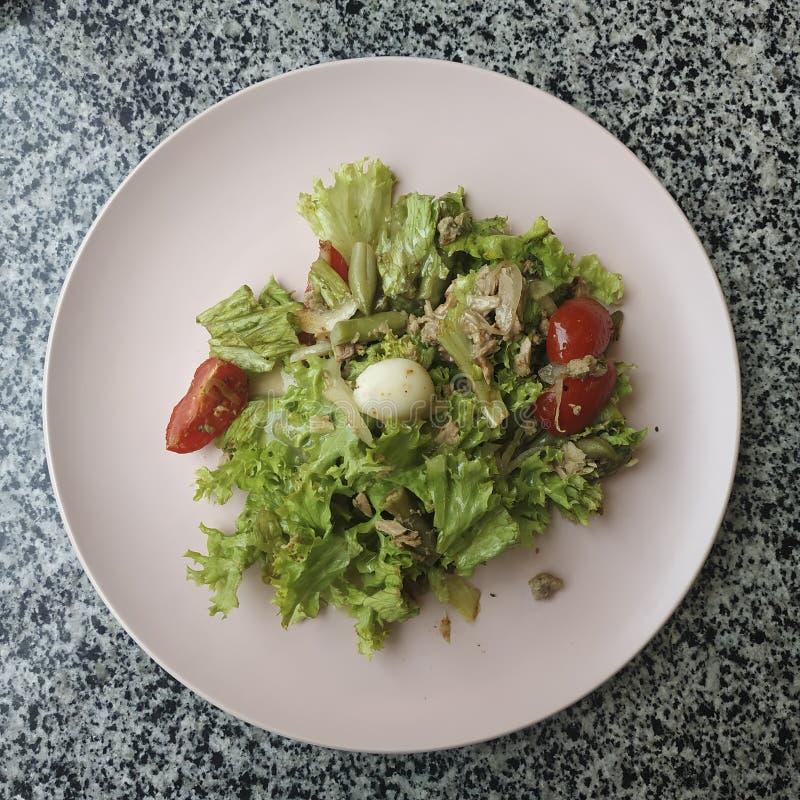 Mieszanka sałatkowa, filet indyjski, pomidory wiśniowe, jajko przepiórkowe, nasiona kminku obraz royalty free