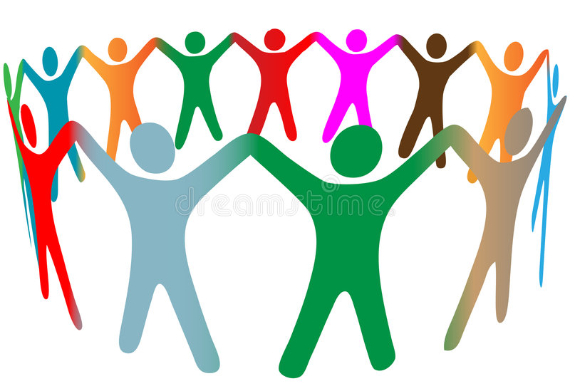 mieszanki kolorów różnorodni ręk chwyta ludzie dzwonią symbol royalty ilustracja