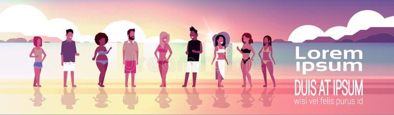 Mieszanki rasy grupy na zmierzch plaży nadmorski wakacje wakacje letni sztandaru kopii przestrzeni horyzontalnym mieszkaniu ludzi ilustracja wektor