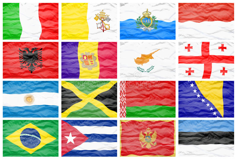 Mieszanki szesnaście różne flaga państowowa ilustracji
