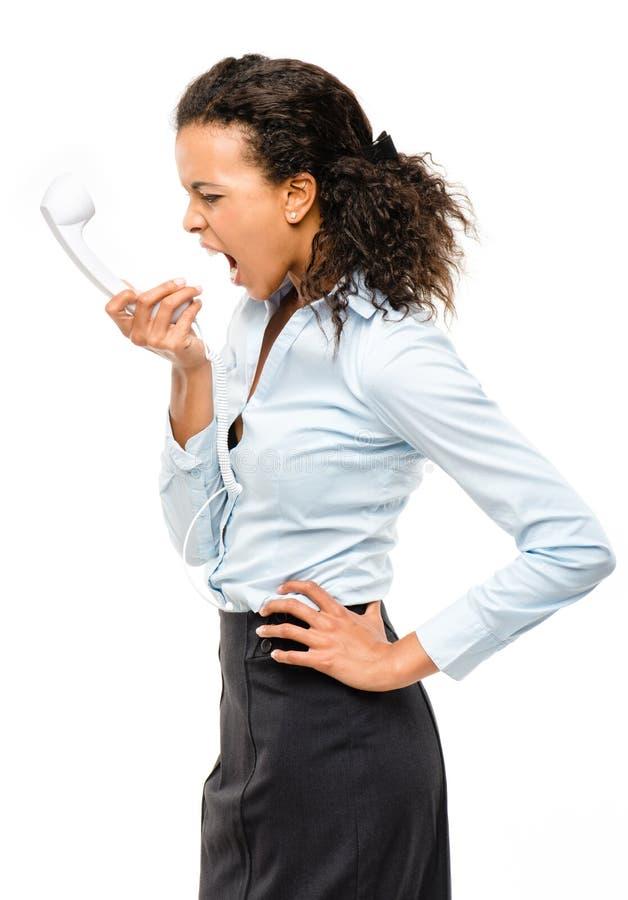 Mieszany biegowy bizneswomanu krzyczeć odizolowywam na białym tle obrazy stock
