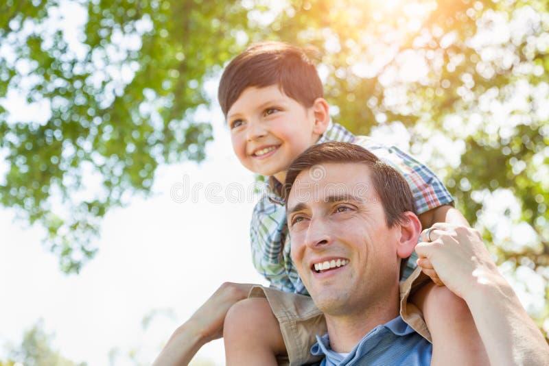 Mieszany Biegowy ojciec i syn Bawić się Piggyback Wpólnie w parku fotografia royalty free