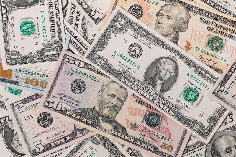 Mieszany dolar, pieniądze tło zdjęcie stock