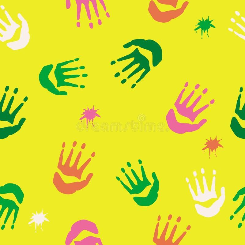 Mieszany handprints wzór ilustracja wektor
