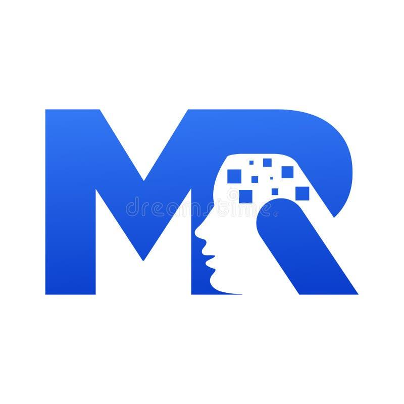 Mieszany logo szablon M i R z ludzkiej głowy kształtem na R, ilustracji