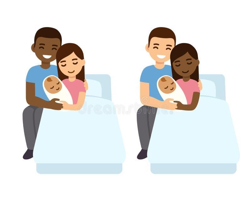 Mieszany pary dziecka narodziny set ilustracji