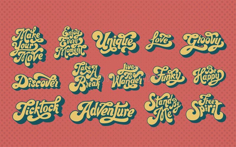 Mieszany set motywacyjna słowo typografia ilustracji