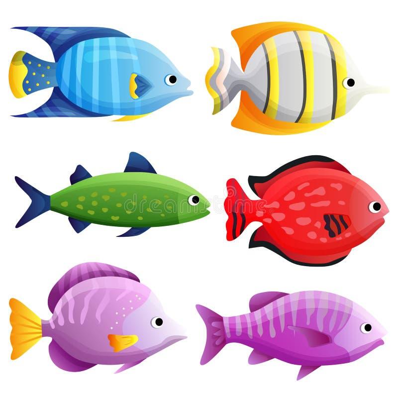 Mieszany tropikalny rybi oceanu set royalty ilustracja