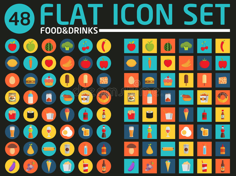 48 mieszkań ikony set wypij jedzenie wektor royalty ilustracja