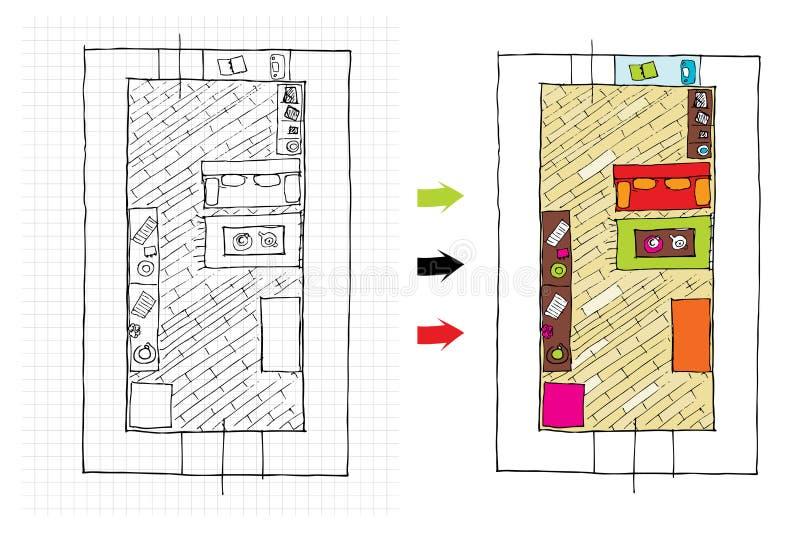 mieszkań projekta wewnętrzny odgórny widok royalty ilustracja