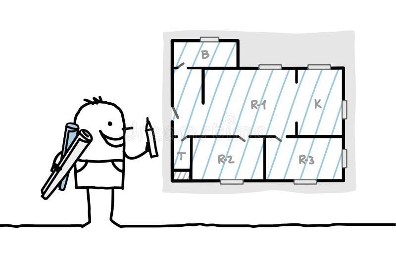 mieszkania architekta rysunku plan ilustracja wektor